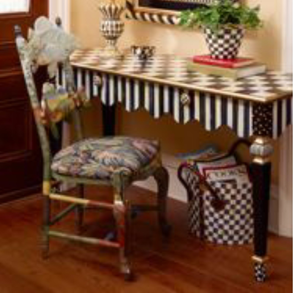 Mackenzie childs courtly stripe console table fast shipping for Mackenzie childs fish rug