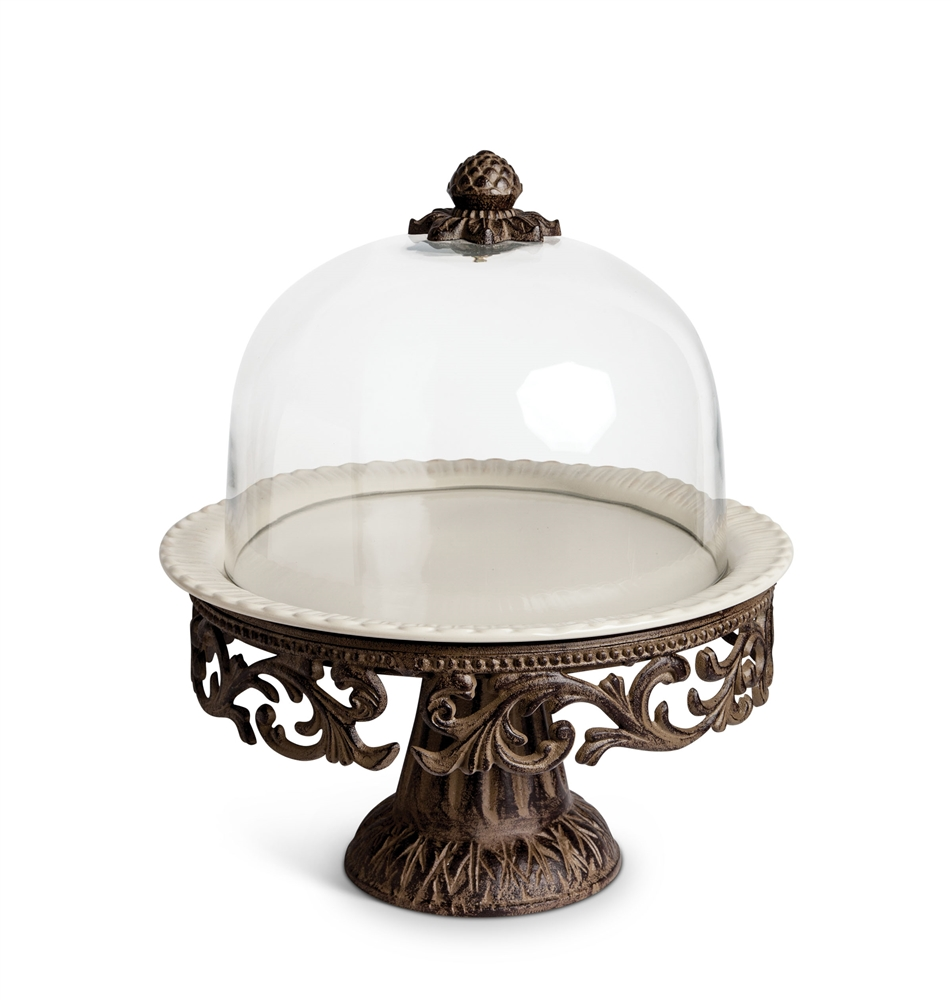 Gg Collection Cake Pedestal W Glass Dome
