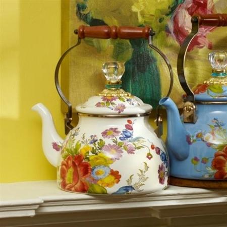 Mackenzie Childs Flower Market 2 Qt Tea Kettle White