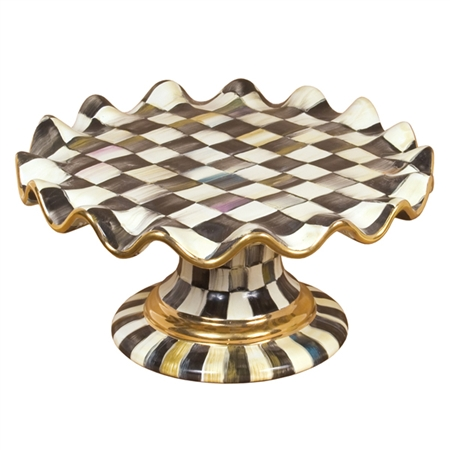 Mackenzie Childs Courtly Check Fluted Cake Stand For Sale