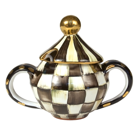 Mackenzie Childs Courtly Check Lidded Sugar Bowl For Sale