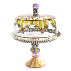MacKenzie-Childs Striped Awning Cake Dome & Stand Set