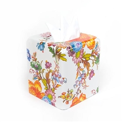 Mackenzie-Childs Flower Market Tissue Box Cover White