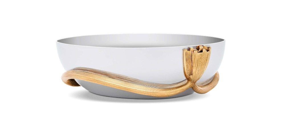L'objet Deco Leaves Stainless Steel Et 24K Gold Plated Accents