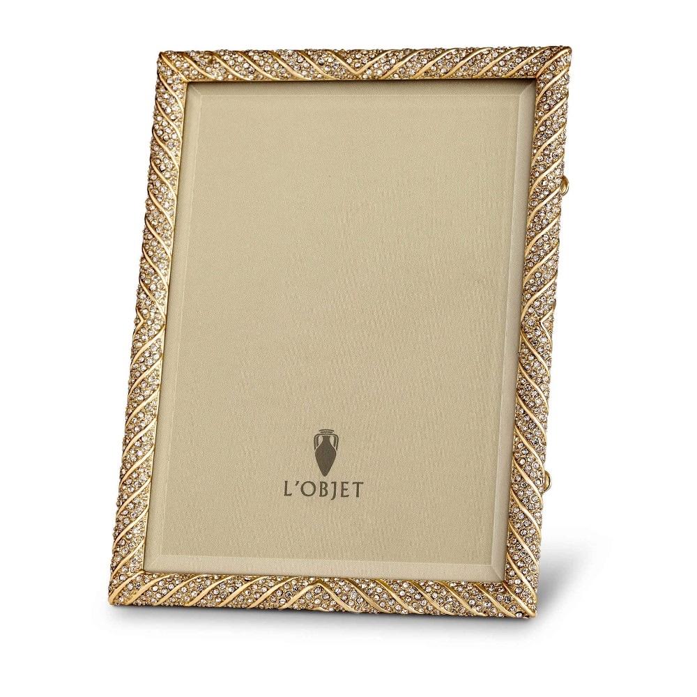 L\'Objet Frames -Deco Twist Gold + White Crystals 8x10 Frame