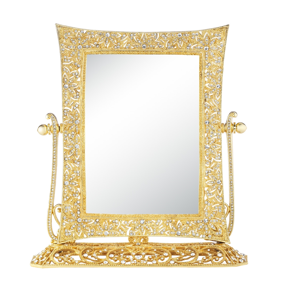 Olivia riegel gold windsor magnified standing mirror for Gold standing mirror