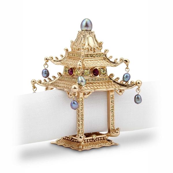 L Objet Gold Plated Pagoda Napkin Rings Set 2 Nj6501